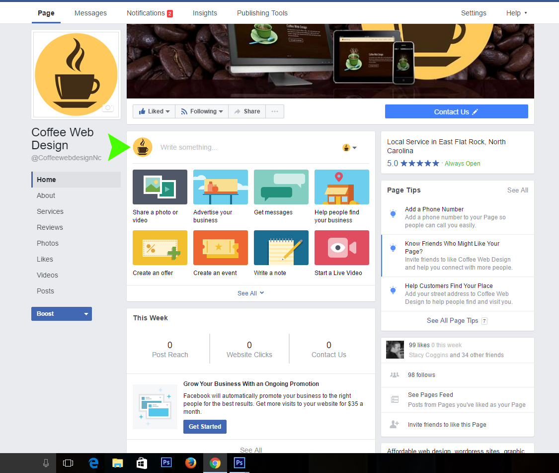 Facebook business page step 5