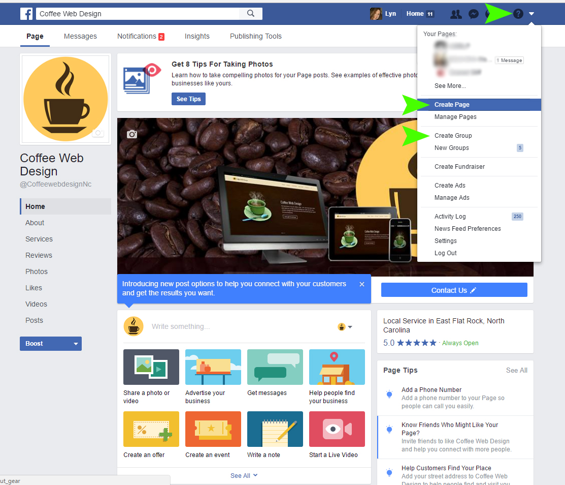 Facebook business page step 1